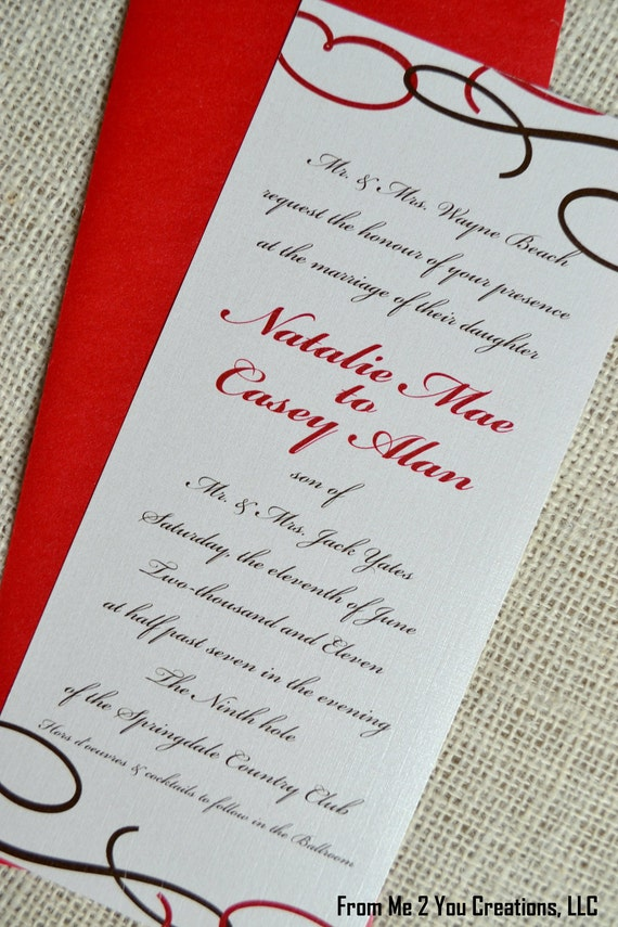 Red Wedding Invitation--4x9 Metallic Red and Brown Swirl Textured Invitation