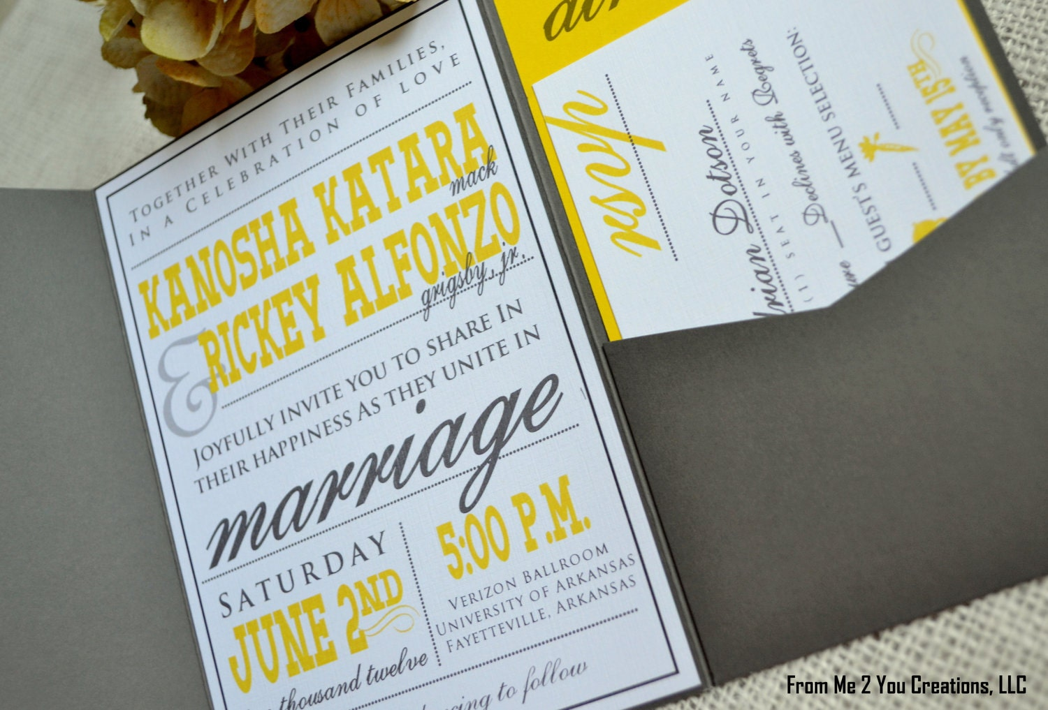 Wedding Invitations Grey: Yellow And Gray Wedding InvitationYellow By