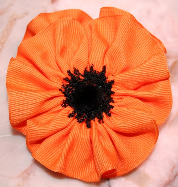 Corsage,  Corsage Prom, Wrist Corsage Prom, Ribbon Flower Pin, Orange and Black Pansy, Beaver Fan