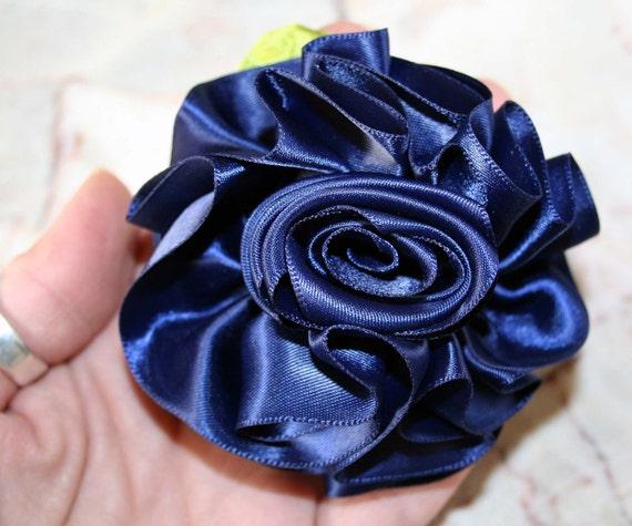 Navy Blue Satin Ribbon Rose Flower Pin, Corsage, Hair clip, scrunchy, Prom, Wedding, Mom, Event Flowers