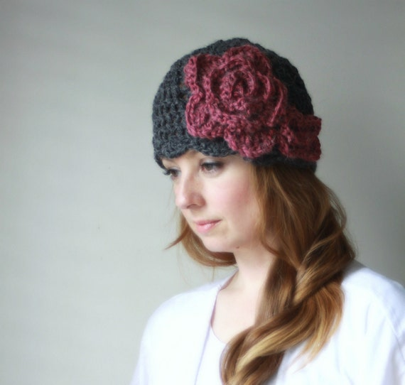 Peony - Crochet PATTERN ONLY - Flower Hat Beanie