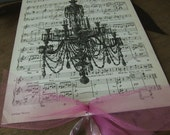 Printed Chandelier on Vintage Music Paper Wall Hanging Art