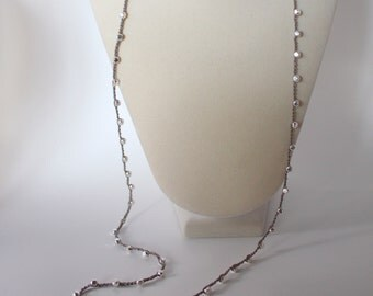 long sterling silver crocheted necklace