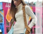 "MRJ ""Button Up"" Beige Suede Hands Free Bag Free holiday shipping"