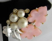 Vintage Pink Lucite, Rhinestone and Faux Pearl Silver tone metal Leaf Earrings