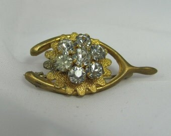 WISHBONE PIN with lots of sparkle Antique Victorian or Steampunk style retro gift queen victoria rhinestone flower brooch