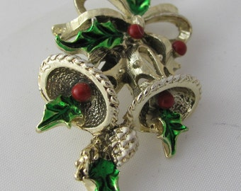 Festive Bells and Holly Vintage Enamel Brooch Pin in gold tone