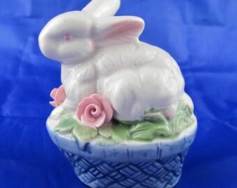 Vintage Easter Rabbit on a Blue Basket with Pink Roses Springtime Decor