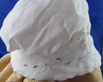 Vintage Embroidered cap with cutwork - housecap or nightcap handmade linens victorian steampunk