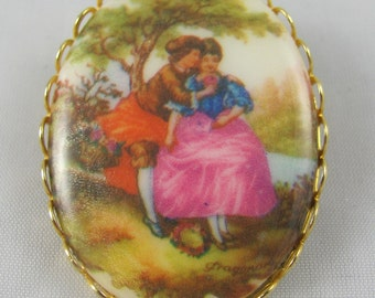 Porcelain Portrait Vintage Brooch Painting of a Couple in the Woods Charming gift mid century modern