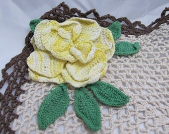 Brown & Ecru Cotton Vintage Handmade Crochet Doily with large Variegated Yellow Rose and green leaves Nice