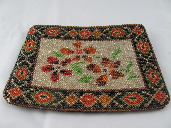 Beaded Clutch Purse with glass seed beads in black, red, orange, green and white