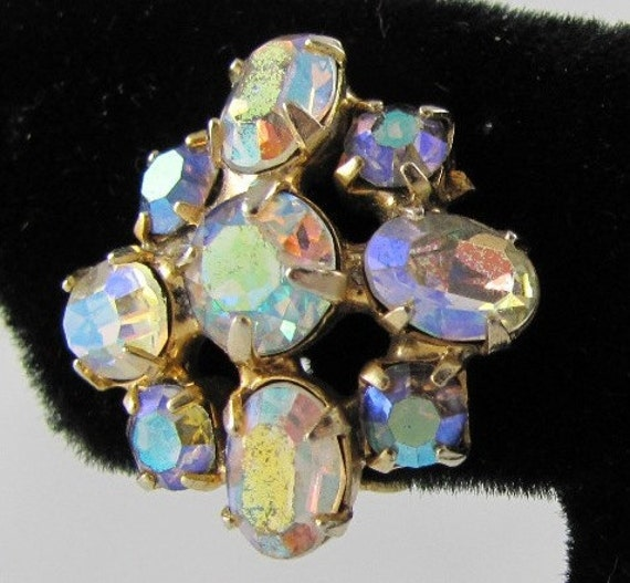 Kramer Vintage Sparkling Earrings with Rainbow Aurora Borealis Crystal Rhinestone in gold Settings