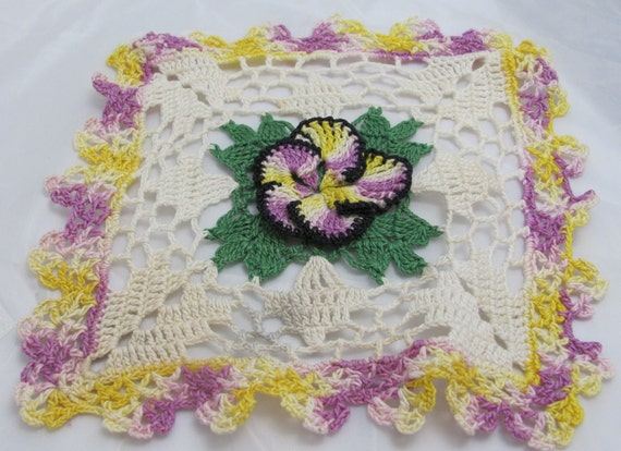 Square Vintage Handmade Pansy Flower Doily in Variegated Purple & Yellow also White Green and Black Cotton Thread