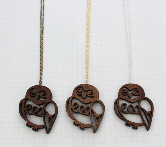 Snowy Owl - Walnut Necklace