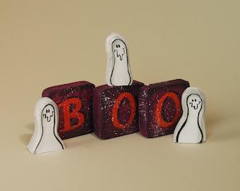 BOO Blocks Halloween Ghosts Wood Decoration Shelf Sitter