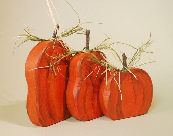 Wood Pumpkins  Autumn Decorating Halloween Thanksgiving Trio of