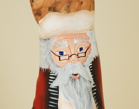 Santa Cypress Knee Handpainted Wood Santa Figurine