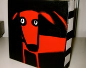 Canine RED 5x5 Art Block Painting