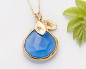 Bridesmaid stamped jewelry -  Something Blue - Deep Blue Chalcedony - personalized initials necklace - Gold Necklace