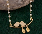 Custom Lovebird necklace with Personalized Initial Leaf Charms and wire wrapped white freshwater pearls  - Cyber Monday Sale