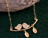 Stunning Custom Lovebird necklace with Personalized Initial Leaf Charms and wire wrapped Pyrite- Personalized Jewelry