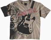 Boys Guitar T-Shirt, Personalized Rock and Roll Clothing