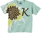 Girl's Monogram Shirt, Mums Top in Aqua, Lime and Brown,