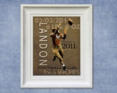 Kids Room Art Print - Football 8x10 Personalized Baby Room Decor