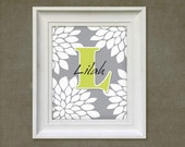 Childrens Art Print - Personalized Gray Mums 8x10 Baby Room Decor