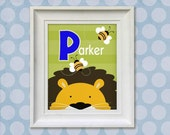 Childrens Art Print - Personalized Lion Monogram 8x10 Baby Room Decor
