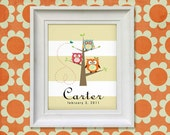 Nursery Art Print - Owl Tree 8x10 Personalized Baby Room Decor