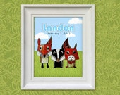Nursery Art Print - Woodland Friends 8x10 Personalized Baby Room Decor