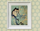 Nursery Art Print - Asian Owl 8x10 Personalized Baby Room Decor