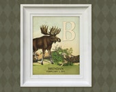 Nursery Art Print - 8x10 Personalized Moose Woodland, Baby Room Decor