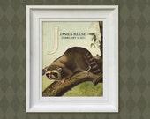 Nursery Art Print - Raccoon 8x10 Personalized Baby Woodland Room Decor