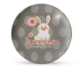 Personalized Plate, Child's Easter Plate, Personalized Melamine Bunny First Easter Plate