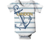 Anchor Baby Bodysuit, Personalized Navy Nautical Stripe Infant Boy's Outfit, Onepiece Clothing