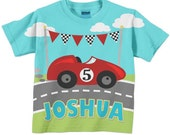 Boy's Race Car T-Shirt, Personalized Name, Racing Birthday Shirt