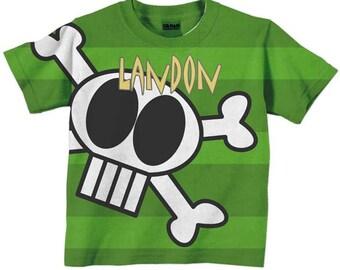 Personalized Skull T-Shirt, Boys Pirate Shirt, Childrens Clothing