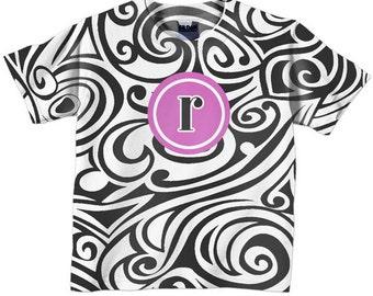 Toddler Girls Shirt, Personalized Swirly Monogram Top, childrens clothing