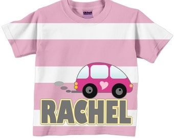 Girls Little Pink Car, Personalized Striped TShirt