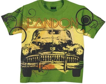 Personalized Boys Car Shirt, Green, Childrens Clothing