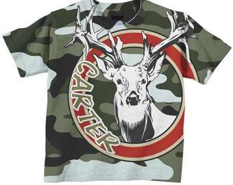 Camoflauge Shirt, Personalized Deer Antlers Boys T-shirt Top