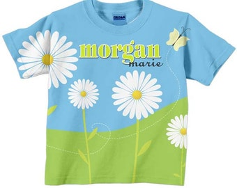 Personalized Girls Shirt, Easter Daisy Field T-Shirt, Childrens Clothing, Custom Top