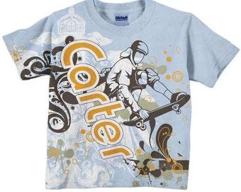 Boys Skateboard Shirt, Personalized Boys T-Shirt, Clothing