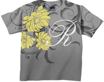 Personalized Girls Shirt, Yellow Dahlias Toddler Tee, Custom T-shirt, Children's Clothing