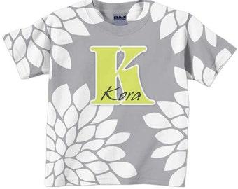 Girl's Personalized Shirt, Grey Mums Monogram T-shirt
