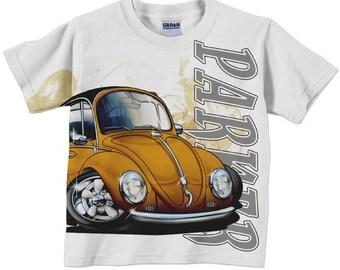 Boy's Car Shirt, Personalized Boys Clothing, Orange Bug Car T-shirt