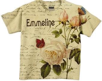 Girls T-Shirt  - Personalized French Rose Botanical Shirt, Childrens Clothing